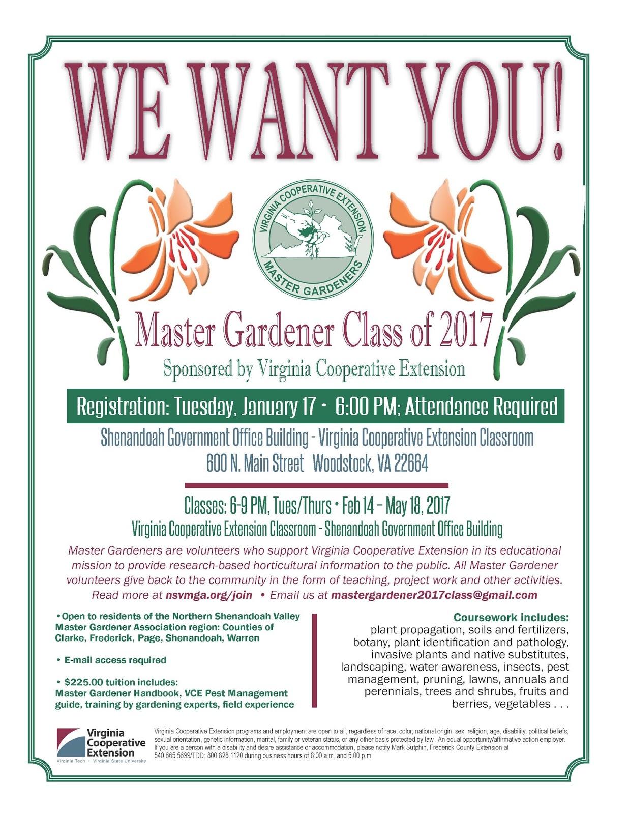Virginia Cooperative Extension Master Gardener Program Nsvmga 2017 Training Class Woodstock