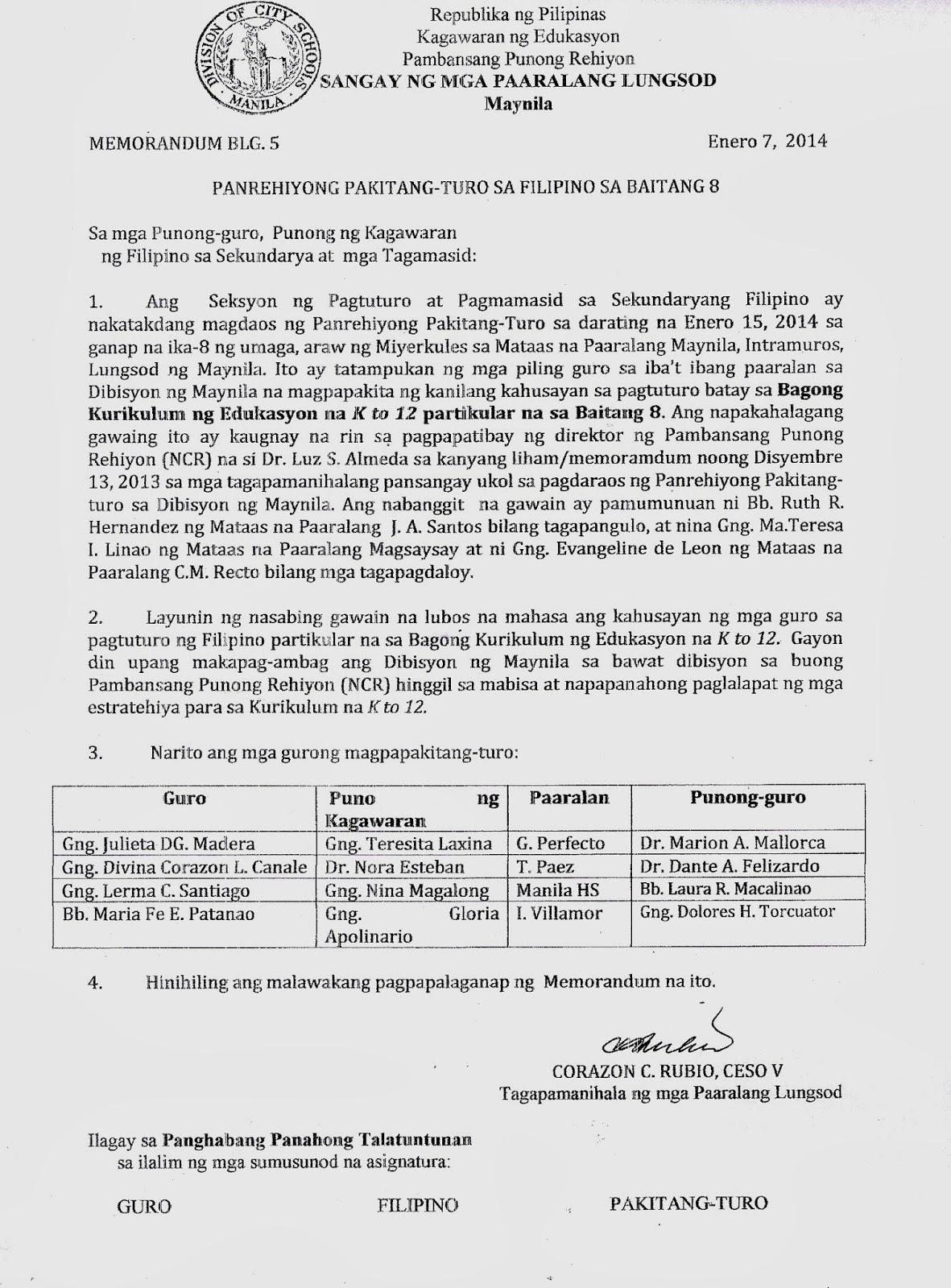 Department Of Education Manila Division Memorandum No 5