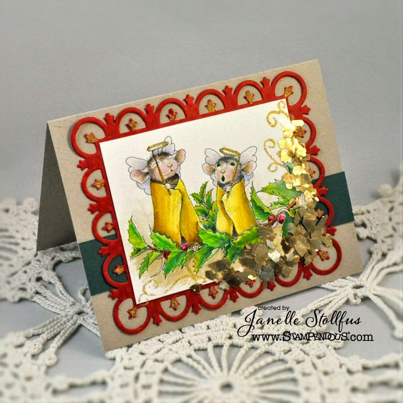 Handmade Greeting Card of mice as angels.