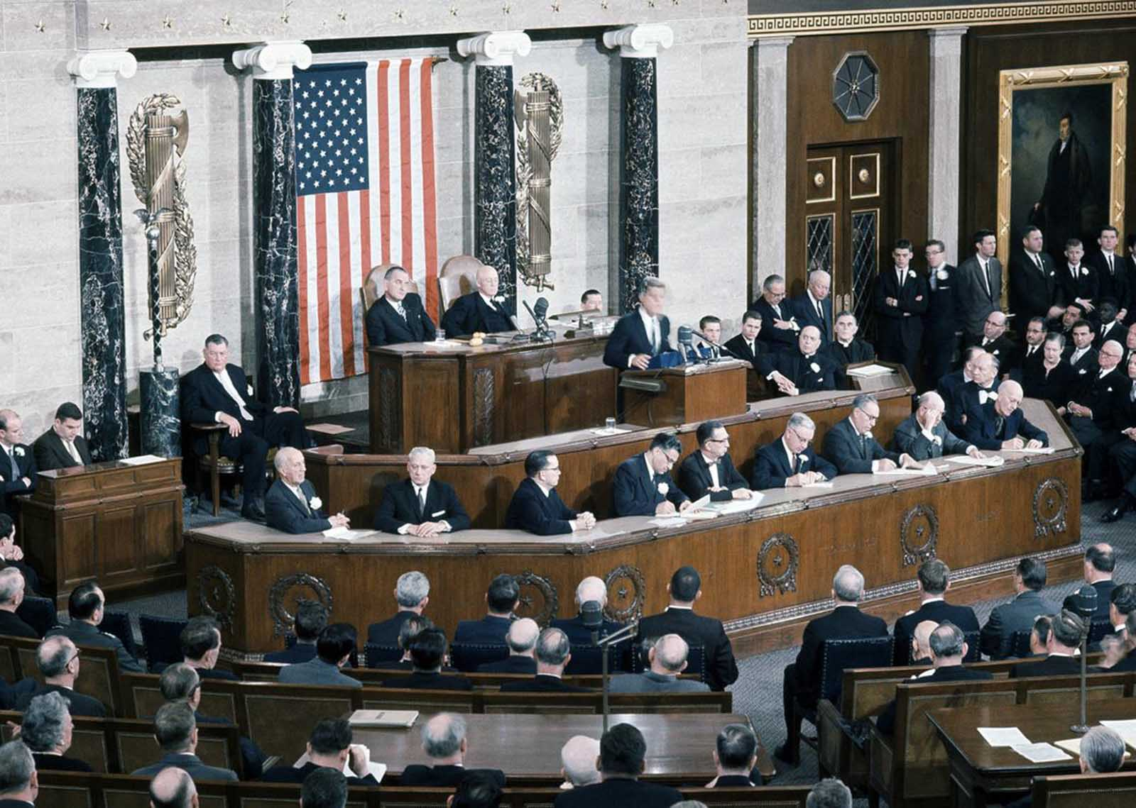 President John F. Kennedy addresses Congress in Joint Session for his first state of The Union Address in Washington, on January 31, 1961.