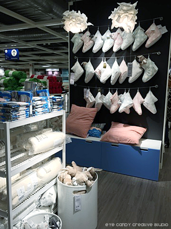 slipper wall at IKEA west chester, pillows, storage solutions, pink & grey