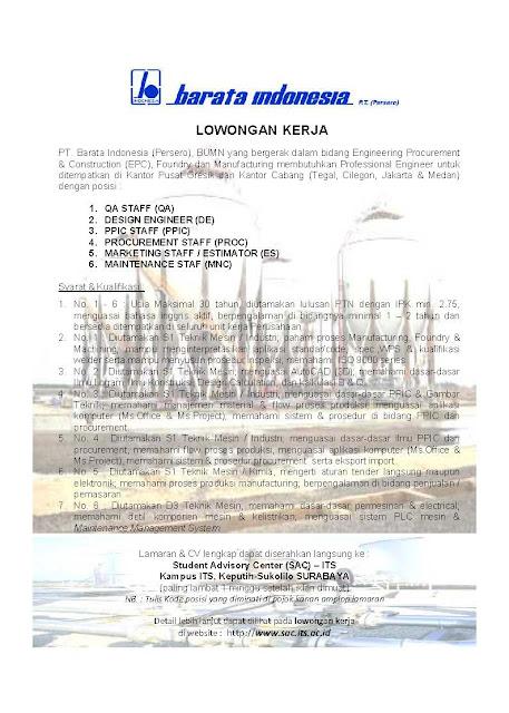 Lokerbaru BUMN Barata Teknis