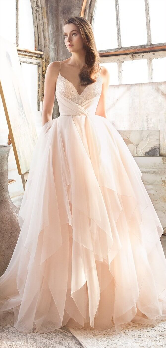 Tara Keely Spring 2018 Rose Organza bridal ball gown