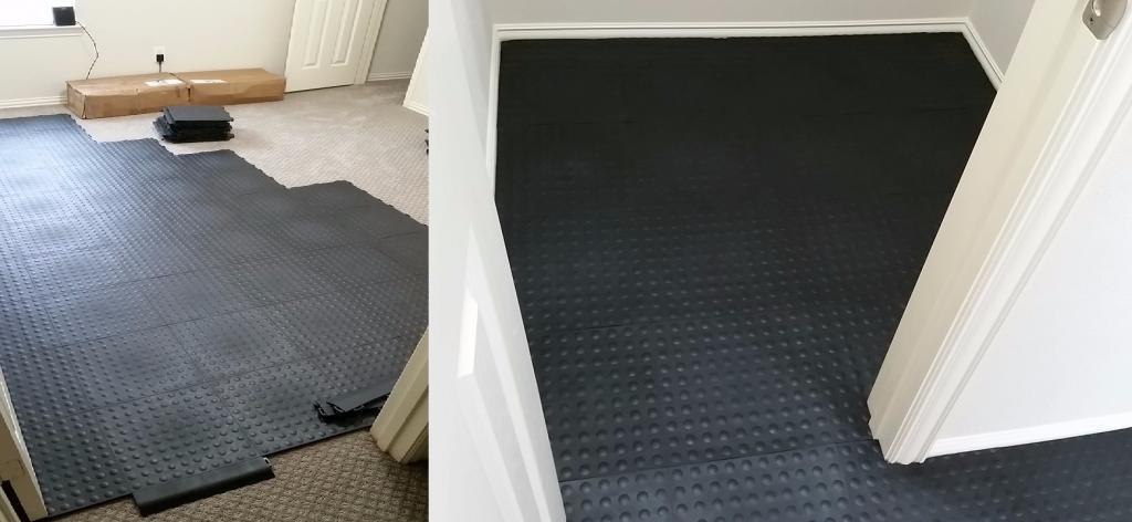 Greatmats installing gym floor over carpeting staylock