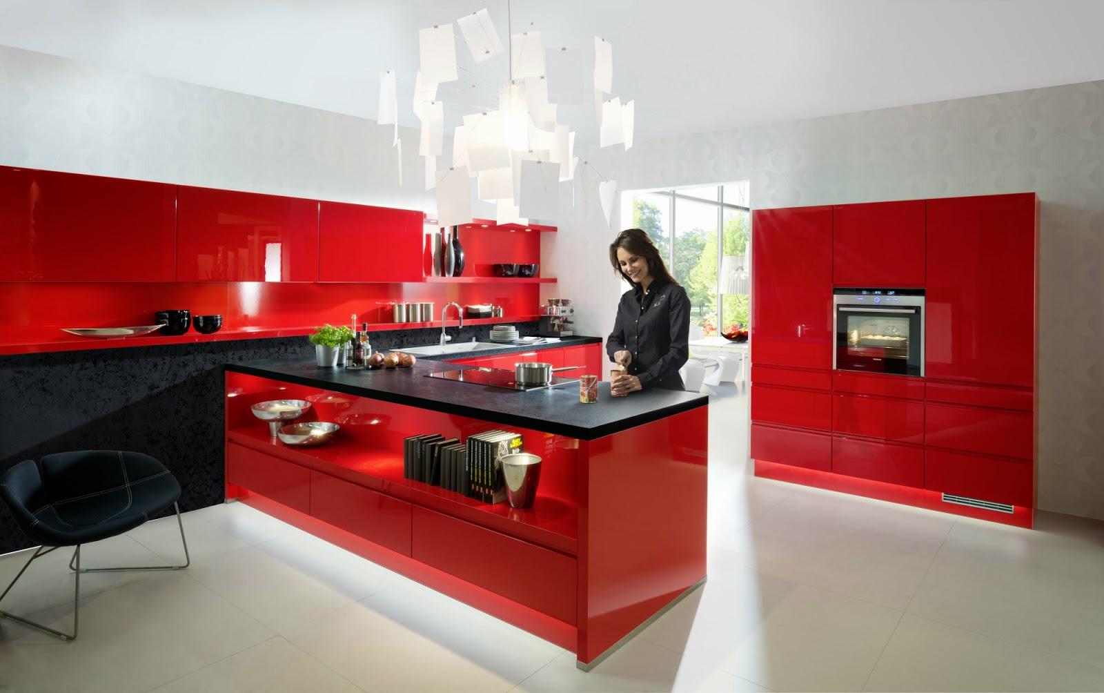 cuisine rouge plan de travail noir. Black Bedroom Furniture Sets. Home Design Ideas