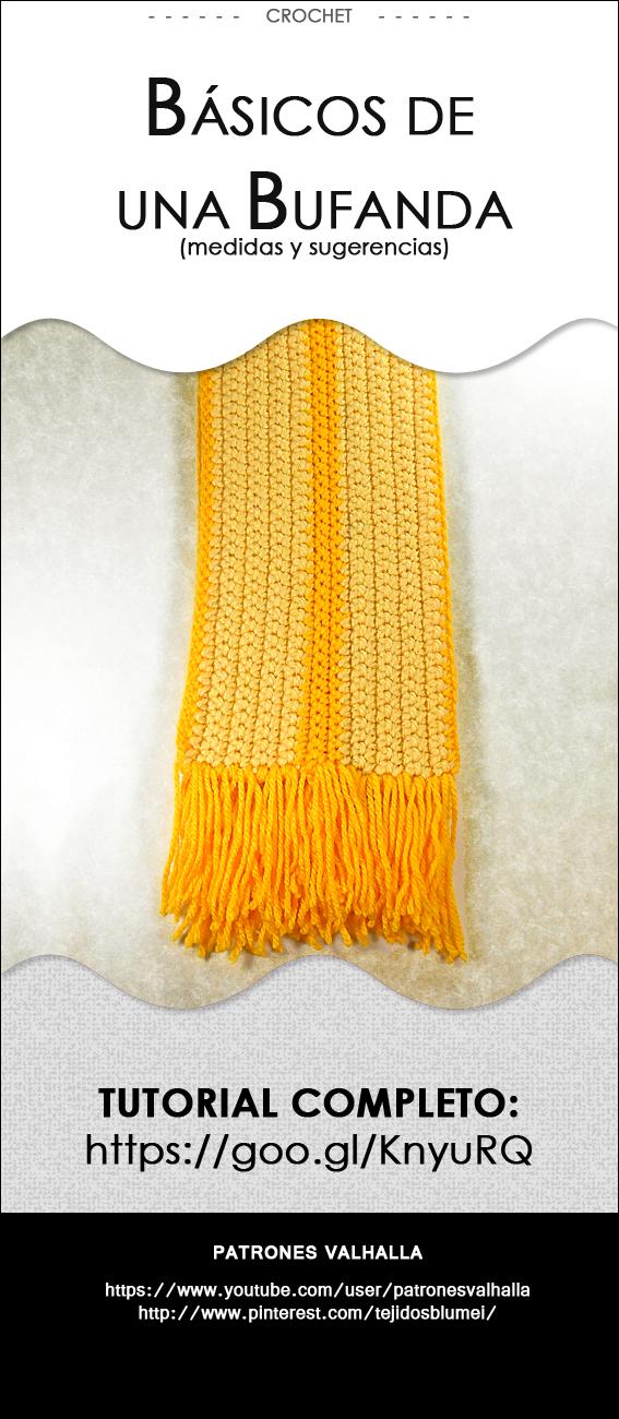 Bufanda a Crochet [medidas y sugerencias] - PATRONES VALHALLA ...