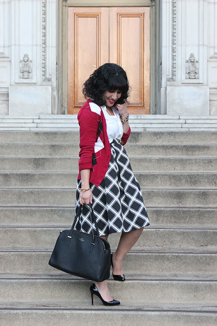 Argyle Print Cardigan and Diamond Print Skirt Work Outfit