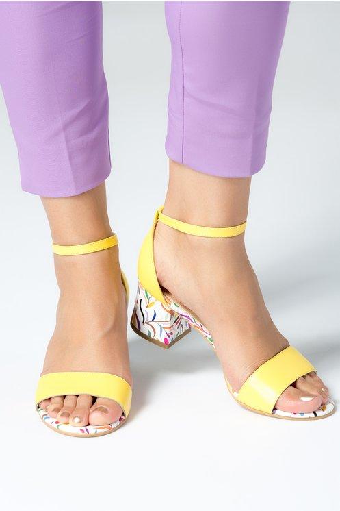 Sandale dama galbene cu detalii florale si toc jos din piele naturala