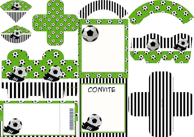 Soccer Set: Free Printable Invitations and Boxes for Parties