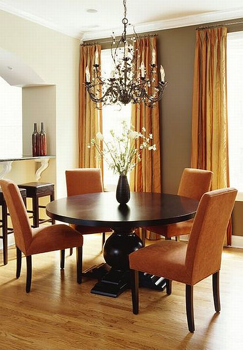 Perfect Traditional Dining Room With Orange Curtains And Antique Chandellier