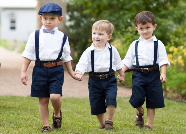 Three Little Ring Bearer Wear White Navy Suits