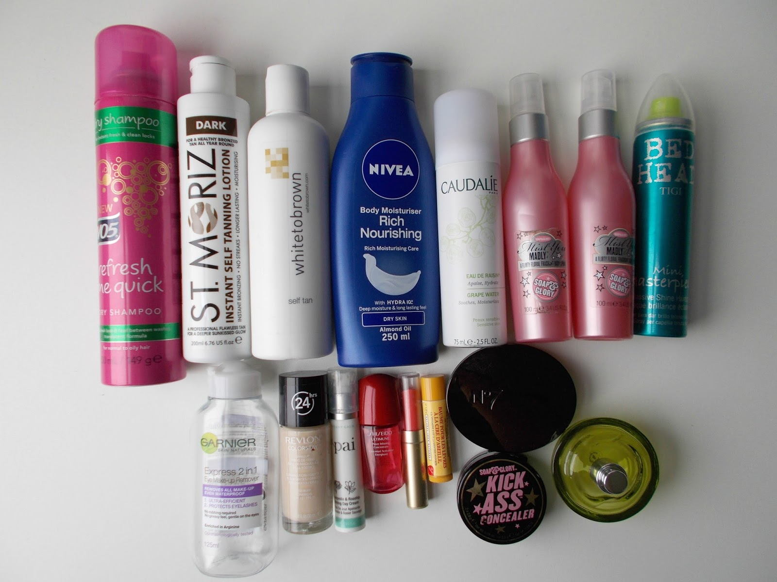 product empties st moriz nivea white to brown soap and glory burt's bees dkny caudalie