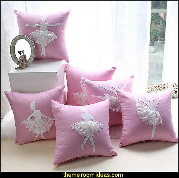 Ballet Dancer Cushion Cover Pink Decorative Pillow Cover  ballerina bedrooms  - ballerina bedroom decorations - Ballet Theme Bedroom ideas - ballerina wall mural decals  - Prima Ballerina bedroom decorating theme - swan lake bedroom ideas -  ballerina bedroom wall decorations - swan lake wall decor - pink roses decor - rose decorations -