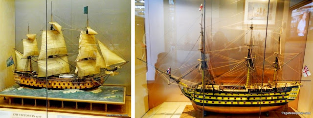 Maquetes do navio Victory no Museu Naval de Portsmouth