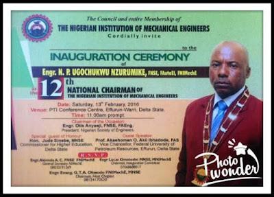 Engr Ugochukwu Nzurumike investiture Programme as the 12th NIMechE National Chairman Begins In Warri