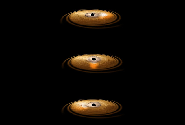 Black hole makes material wobble around it