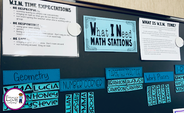 W.I.N. Block math station ideas for the elementary classroom from Literacy Loves Company.