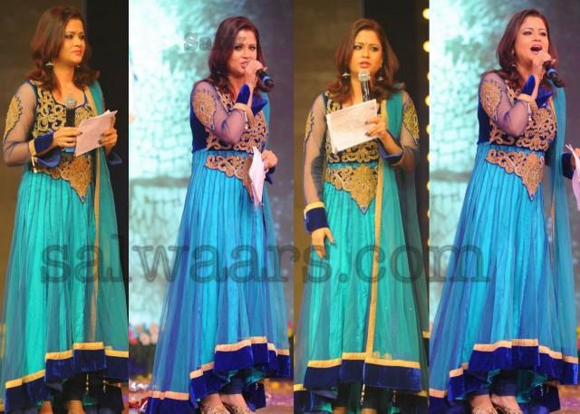 Telugu Actress Jyothi In Blue Salwar: Shilpa Chakravarthy Designer Salwar Kameez