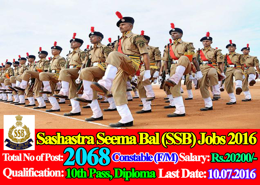 SSB Recruitment 2017 for Constable Posts