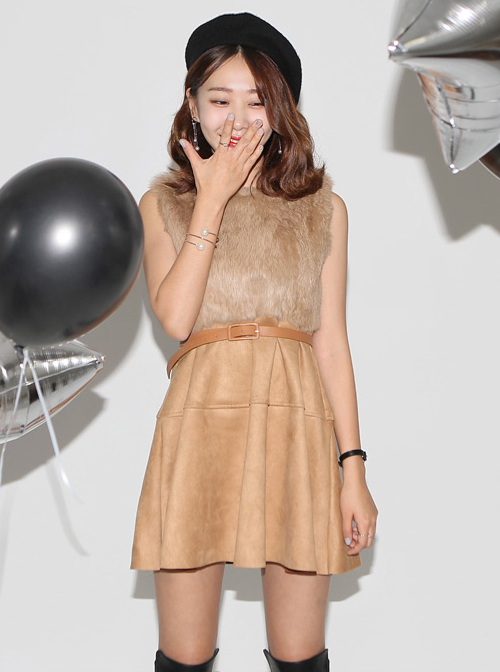 Faux Fur Belted Suede Dress
