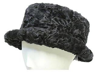 Black Persian Lamb Derby Hat