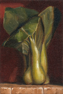 Oil painting of a bok choy bunch standing upright.