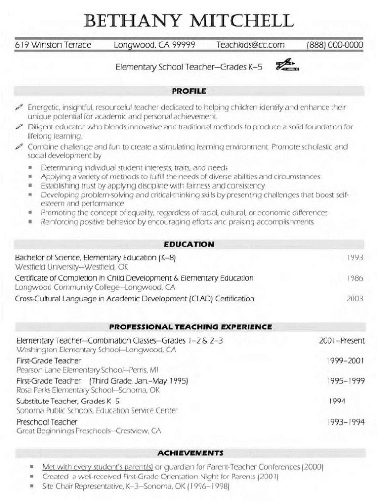 Sample Teaching Resumes Sample Resumes