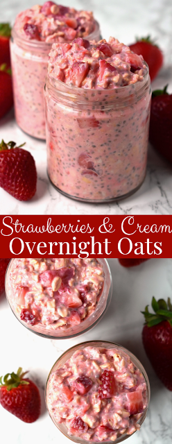 Strawberries and Cream Overnight Oats recipe