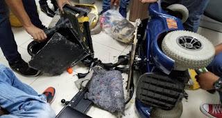 """NO SE ESCAPA NADA!!! Ocupan droga escondida en silla de rueda eléctrica.. """"El Internacional"""""""