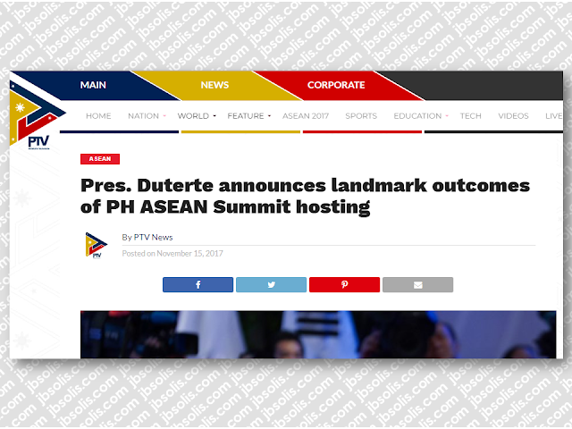 "President Rodrigo Duterte reported a productive conclusion of the 31st ASEAN Summit and Related Summits on Tuesday, November 14, announcing landmark outcomes of the meetings during the Philippines' hosting.  President Duterte noted the highlights of the Summit such as the start of talks for a Code of Conduct in the South China Sea and the signing of a Consensus on the Protection of the Rights of Migrant Workers.  ""Yesterday, during the 20th ASEAN-China Summit, we announced the start of formal negotiations on a Code of Conduct of Parties in the South China Sea,"" President Duterte said, announcing the negotiations on the Code of Conduct (COC) in the South China Sea.  ""Just a few moments ago, the other ASEAN Leaders joined me in signing the ASEAN Consensus on the Protection and Promotion of the Rights of Migrant Workers – our commitment to our people,"" he said.  The President said that China has graciously agreed for the crafting of a binding COC, promising unbridled freedom of overflight and navigation in the busy waterway.  The President reported that the ASEAN held successive summits with its Dialogue Partners as well as the ASEAN-led mechanisms — the ASEAN Plus Three and the East Asia Summit, noting the importance of cooperation in addressing issues that affect the peace, security, and prosperity of the region.  President Duterte also chaired and hosted the first meeting of the Leaders of the Regional Comprehensive Economic Partnership (RCEP), wherein, along with the other leaders, he expressed resolve to realize a substantial conclusion of negotiations on the economic instrument.  The leaders also had two business council meetings — the ASEAN Business Advisory Council and the East Asia Business Council. Sponsored Links ""We looked at the progress of our cooperation with external partners and the future direction of ASEAN's engagement with them, noting the importance of ASEAN centrality, and the reality that relations bear fruit if cooperation is anchored on mutual respect and benefit,"" the President said.  Threats of terrorism overshadowed discussions In the press conference, the President said the issue of terrorism loomed large in the agenda of the talks with ASEAN leaders and their dialogue partners.  ""Half of the time during the interventions actually was the issue of terrorism. Everybody's scared with the new vogue of dying just suddenly in the explosion of any… whatever,"" President Duterte said.  ""We vowed to work closely. We discussed it in confidential meetings. We have agreed on so many things to enhance the defense of our country.""  He said the attack in Marawi City by the ISIS-linked Maute group is a stark reminder of the risks each country face, with all the leaders mentioning the heroism of Filipino soldiers and policemen who fought the terrorists.  The rising tension in the Korean Peninsula was also a major topic for the talks, particularly in the discussions involving China and the US, the President said, adding that the region cannot afford to ignite a very disastrous war.  As the 31st ASEAN Summit and Related Summits draw to a close, the President led the symbolic turnover of the ASEAN chairmanship to Singapore.  President Duterte also expressed his gratitude to the press who gave extensive coverage of the country's hosting of the 31st ASEAN Summit.  ""Before I close, I wish to express my appreciation to the members of the media for your coverage throughout the year of the Philippines' Chairmanship of ASEAN,"" he said.  ""You have been [our] invaluable partners in raising ASEAN awareness to our peoples, particularly our hard work toward improving the lives of our peoples and in strengthening our ASEAN Community. I thank you for getting that message across to the public,"" Duterte said.  With the country's ASEAN hosting this year which coincides with the regional grouping's 50th founding anniversary, the President said, ""We are honored that world leaders joined us in celebrating ASEAN's achievements and contributions to [regional] peace, stability, and prosperity for the past 50 years.""  The country's hosting has a theme of ""Partnering for Change, Engaging the World.""{OR INSERT ANOTHER 3-5 IMAGES OR VIDEO HERE}  Source: PTV News   Advertisement"