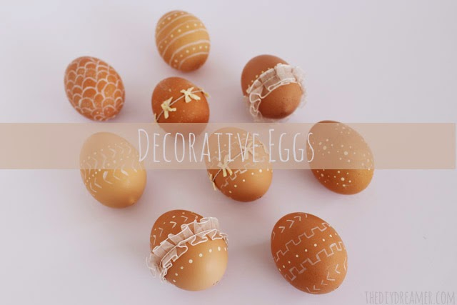 Decorated eggs on the table.