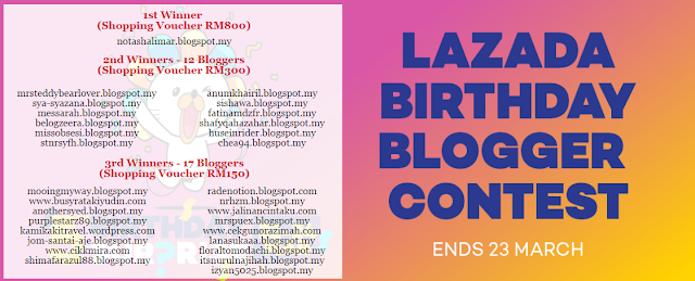 PEMENANG LAZADA BIRTHDAY BLOGGER CONTEST