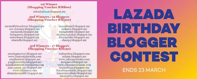 PEMENANG LAZADA BIRTHDAY BLOGGER CONTEST