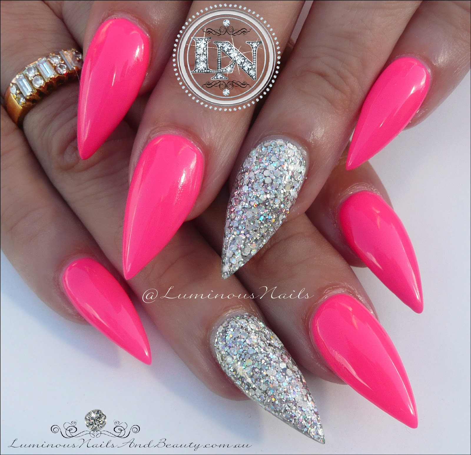 Luminous Nails: Gorgeous Hot Pink & Silver, Sculptured Acrylic ...
