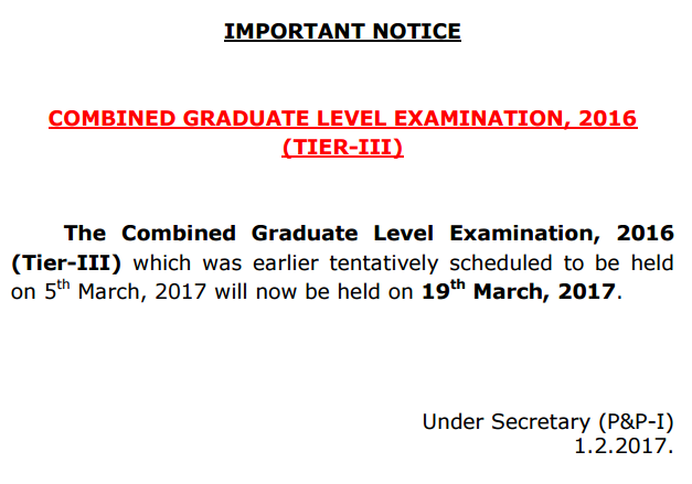 SSC CGL Exam Date, SSC CGL Tier 3 Exam Date