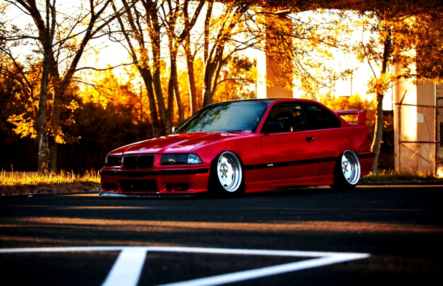 Bmw E36 Red Car Tuning Autumn Hd Wallpaper Wallpapers Inspire