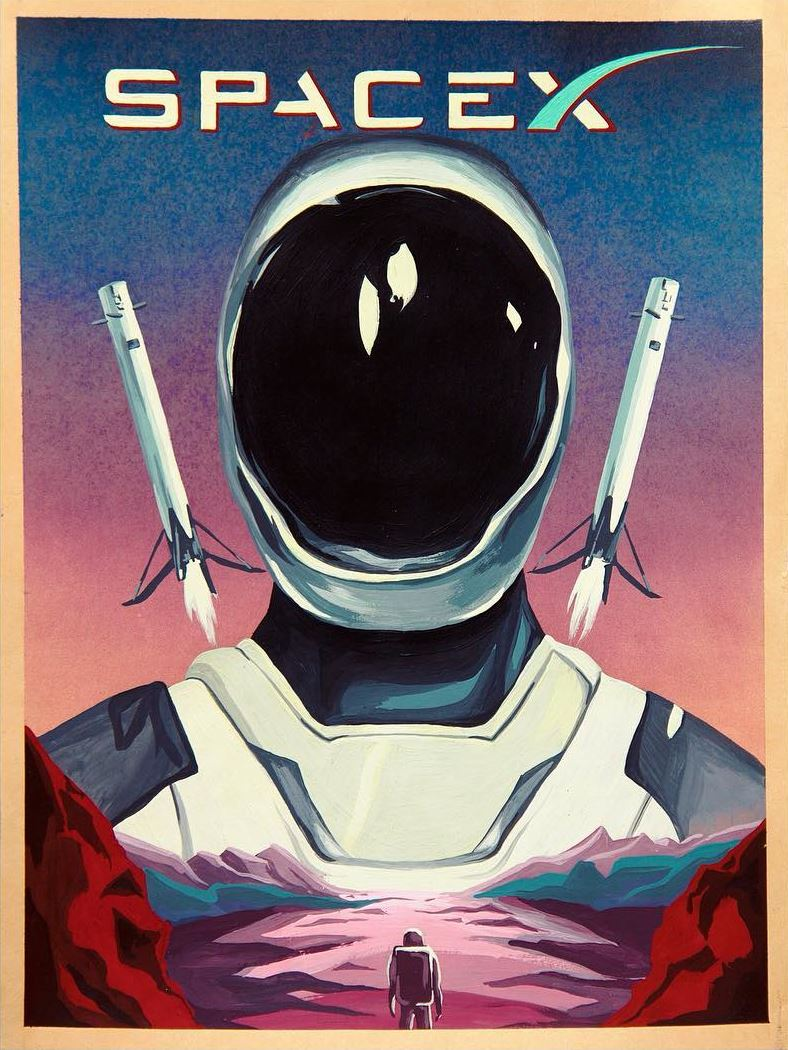 Poster with SpaceX's Starman