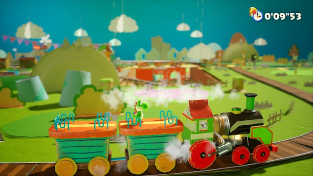 Yoshi's Crafted World Rail-Yard Run train Sunshine Station