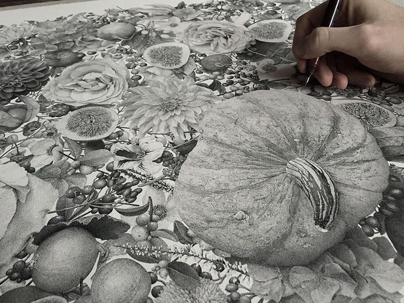 Millones de puntos entintados a mano componen esta ilustración punteada por Xavier Casalta