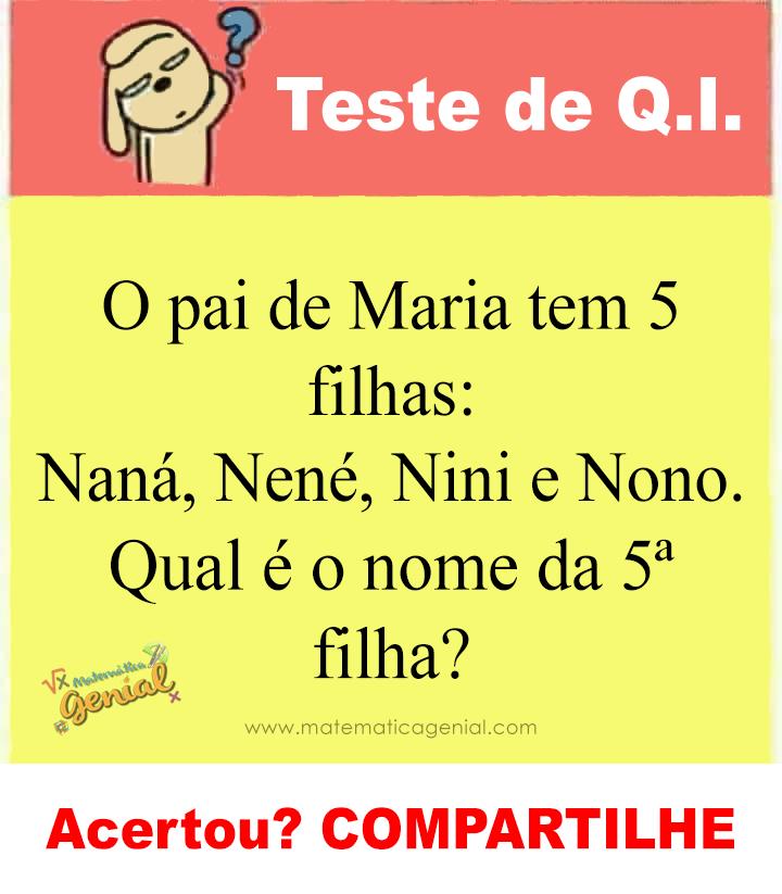 O pai de Maria tem 5 filhas: Naná, Nené, Nini e Nono. Qual é o nome da 5ª filha?