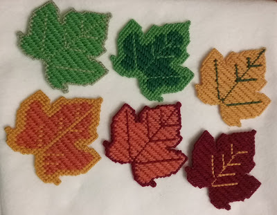 Fall Leaves Plastic Canvas Coasters and Door Decoration
