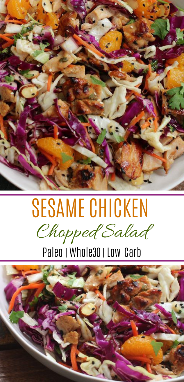 Healthy Sesame Chicken Chopped Salad #Paleo #Whole30