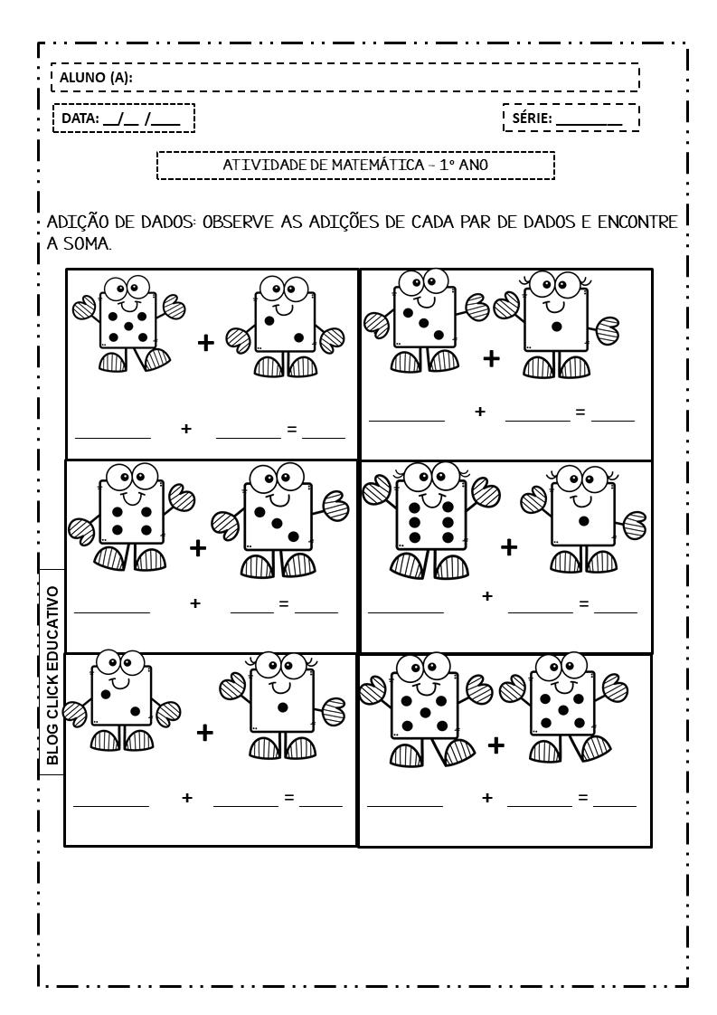 Atividade De Matematica Para Imprimir Com Adicoes Clicks Educativos