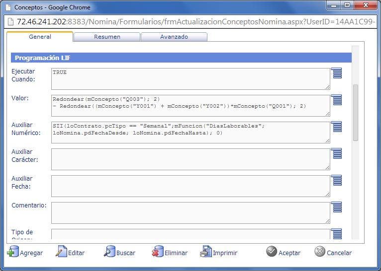 Programación LIF (Lenguaje Interpretado Factory) de Conceptos de Nómina - eFactory Nómina Cloud