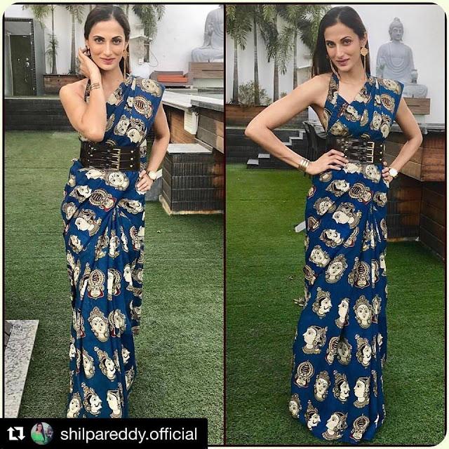 Shilpa Reddy Blue Kalamkari Saree