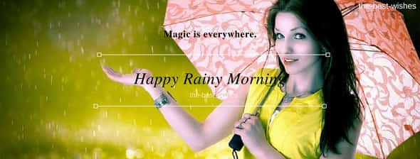Happy Rainy Morning with girl umbrella