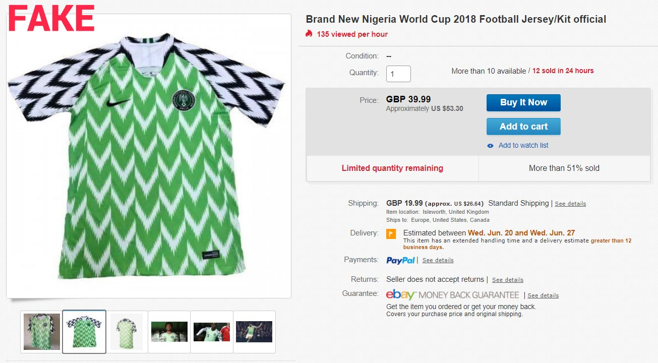best service 349e8 f477f Be Aware - How To Detect A Fake Nike Nigeria 2018 World Cup ...