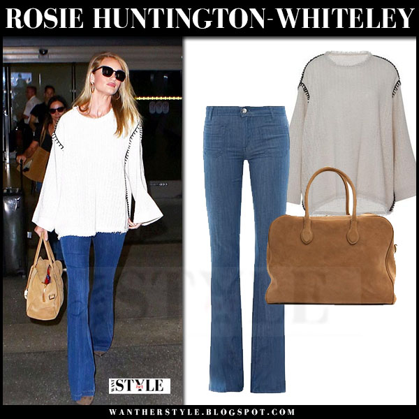 Rosie Huntington-Whiteley in cream wide fit isabel marant elmy sweater and flared jeans seafarer calypso what she wore