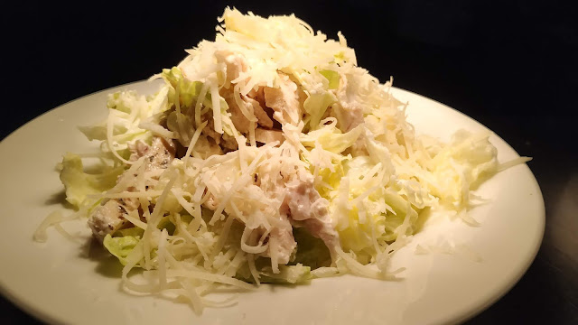 Cesar salad with parmesan cheese toppings, Mediterranean diet