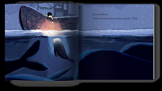La ballena ayuda a Noé a encontrar a su padre en el cuento la ballena en invierno cuento ilustrado por Benji Davies